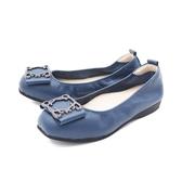 【南紡購物中心】W&M (女)圓頭蝴蝶方釦 娃娃鞋 平底鞋 女鞋 -藍(另有黑)