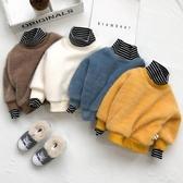 兒童連帽T恤 男童連帽T恤19秋冬嬰兒打底加絨加厚寶寶洋氣高領假兩件兒童保暖上衣【全館免運】