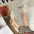 穆勒鞋 英倫風方頭包頭半拖鞋女外穿春季新款正韓休閒懶人百搭穆勒鞋-Ballet朵朵