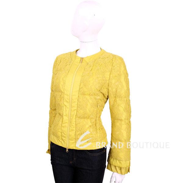 BOSIDENG 黃色拼接蕾絲長袖鋪棉外套 1620128-66