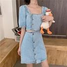 露腰牛仔裙女夏季法式少女復古方領心機設計感小眾泡泡短袖連身裙 韓美e站