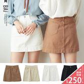短裙 金屬單釦斜紋布車線A字裙S~L號-BAi白媽媽【160846】