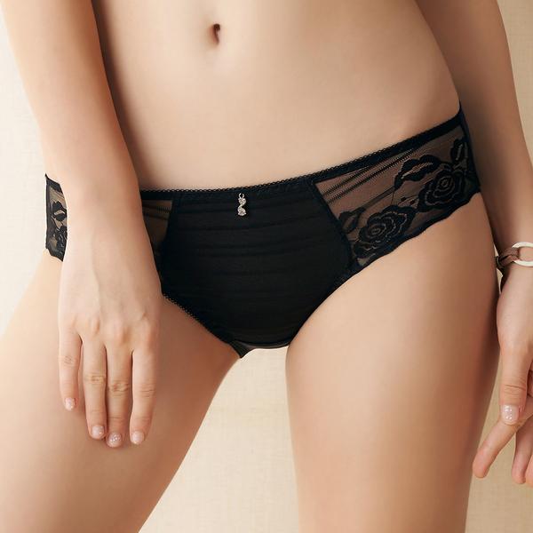 EASY SHOP-香氛戀曲 中腰三角褲(花漾黑)
