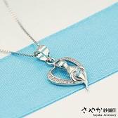 【Sayaka紗彌佳】925純銀愛心造型喵星人鑲鑽項鍊