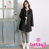 betty's貝蒂思 繡線LOGO設計長版風衣(黑色)