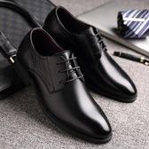 韓版休閒鞋真皮正裝英倫商務鞋秋冬男士小皮鞋黑色潮流尖頭內增高