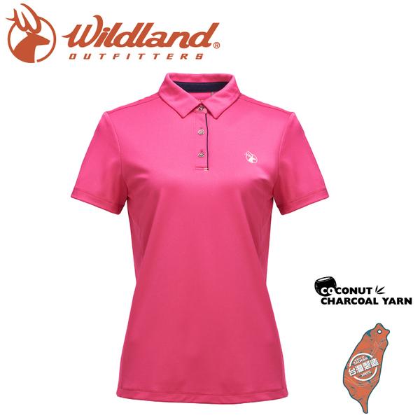 【Wildland 荒野 女 椰碳紗本布領抗菌上衣《玫瑰紅》】0A71603/運動衣/吸濕排汗/短袖/polo衫