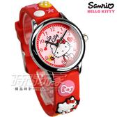 HELLO KITTY 凱蒂貓 凱蒂貓生動迷人立體圖案手錶 防水手錶 女錶 學生精品錶 紅 KT013LWRR-A