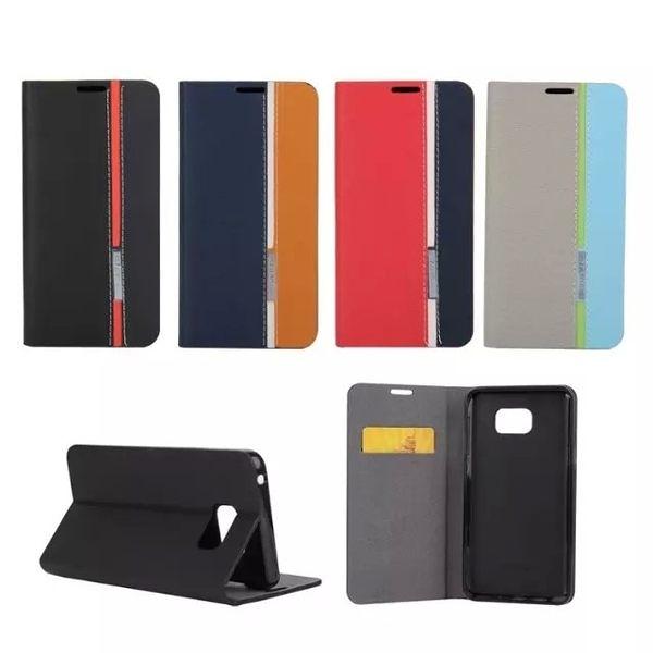 【SZ】s6 edge 手機殼 s6 手機殼 5207新款三色皮套TX s6 edge plus側翻 插卡 手機 保護套