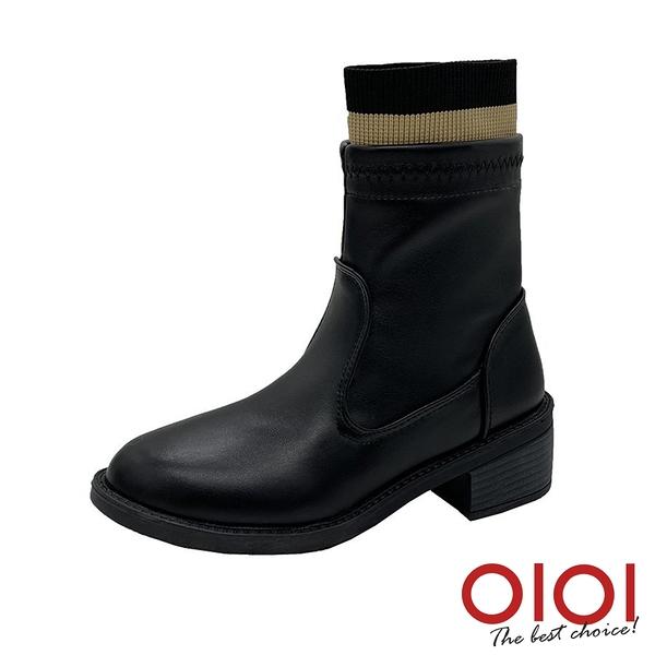 短靴 美型激瘦襪套造型低跟短靴(皮面黑)* 0101shoes【18-1968-1bk】【現+預】
