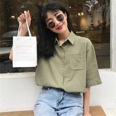 韓版休閒寬鬆復古港味ins棉麻短袖襯衫女夏季港風polo衫上衣學生 衣櫥秘密