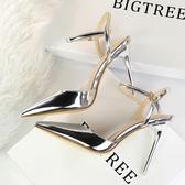 歐美新款 尖頭鞋漆皮金屬 涼鞋OL細跟高跟鞋一字扣單鞋女銀 超值價