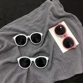 韓國Ulzzang原宿墨鏡女復古圓框太陽鏡米白色邊框修臉果凍粉眼鏡