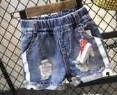可愛卡通兒童破洞牛仔短褲小童褲子夏季
