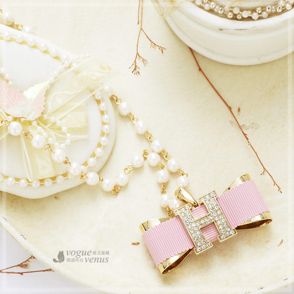 純粹優雅 珍珠粉紅蝴蝶結綴H字水鑽長項鍊 韓國進口長鍊 - 維克維娜
