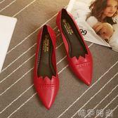 平底鞋 紅色平底鞋女秋新款舒適軟底尖頭單鞋韓版百搭低跟四季女鞋潮 唯伊時尚