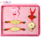EZGOLD-豎琴天使-彌月金飾禮盒 (0.30錢)