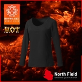 【North Field美國 女 V領遠外線內衣《岩黑》】204B/保暖衣/發熱衣/膠原蛋白/吸濕排汗/親膚