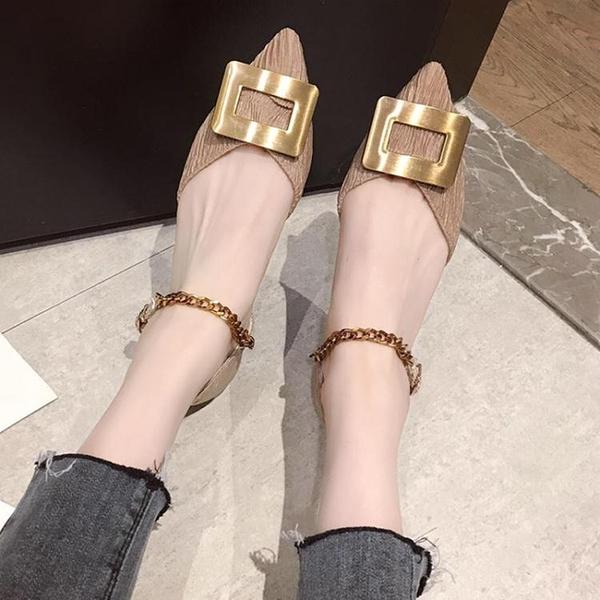 快速出貨 時尚金屬方扣尖頭平底鞋女百搭一字扣中空單鞋