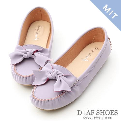 D+AF 可愛印象.MIT立體蝴蝶結莫卡辛豆豆鞋*紫