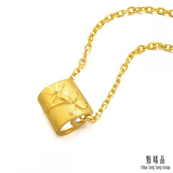 點睛品 吉祥系列 清雅蘭花 黃金吊墜