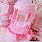 旋轉音樂盒粉色木馬相框音樂盒日系軟妹相片裝飾禮物音樂盒【全館限時88折】