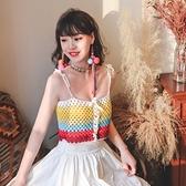 針織背心重工自制純手工鉤織彩虹拼色吊帶背心度假上衣NE603依佳衣