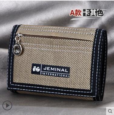 男帆布短款三折簡約小錢包學生拉鏈零錢男孩兒童多功能折疊布錢夾 創意新品