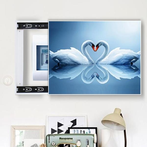 免打孔電錶箱裝飾畫遮擋客廳推拉配電箱壁畫上掀開關弱電閘盒掛畫