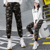 潮牌迷彩褲韓版bf寬鬆直筒休閒褲嘻哈工裝褲女高腰顯瘦束腳褲