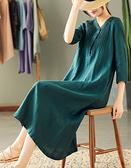 風琴褶V領亞麻五分袖過膝洋裝三色可選/設計家Q3687