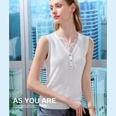 吊帶背心花邊V領薄版針織衫內搭素色上衣(二色S-2XL可選)/設計家 AL010010