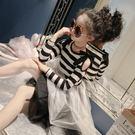 黑五好物節  美妞童裝女童連衣裙2018春新款兒童露肩條紋針織拼接洋氣公主裙子  無糖工作室
