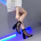 鏤空高跟網面靴子夏新款短筒羅馬涼靴女粗跟網紗短靴涼鞋系帶網靴 快速出貨