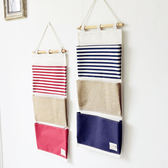 ✭米菈 館✭~Z119 ~海軍條紋三層掛袋牆壁多 棉麻懸掛收納袋廚房雜物置物吊掛式