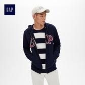 Gap男裝 Logo拉鏈長袖連帽休閒上衣 488109-海軍藍