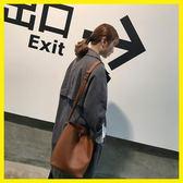 618大促 韓版單肩水桶包大包包PU斜挎包子母包韓國學生休閒女包大容量背包