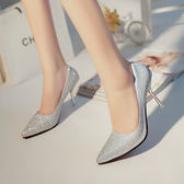 正韓女鞋銀色亮片尖頭高跟鞋中跟磨砂淺口細跟單鞋