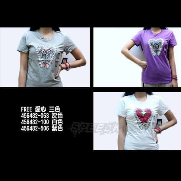 NIKE DRY-FIT 短T FREE系列 跑鞋愛心 灰/白/紫 456482- ☆speedkobe☆