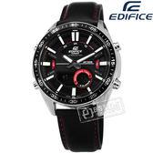 EDIFICE CASIO / EFV-C100L-1A / 卡西歐 世界時間 電話簿 計時 日期  防水100米 真皮手錶 黑紅色 44mm