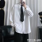 秋季新款白襯衫男士寬鬆潮流翻領長袖純色班服襯衣男生休閒外套潮 蘿莉小腳丫