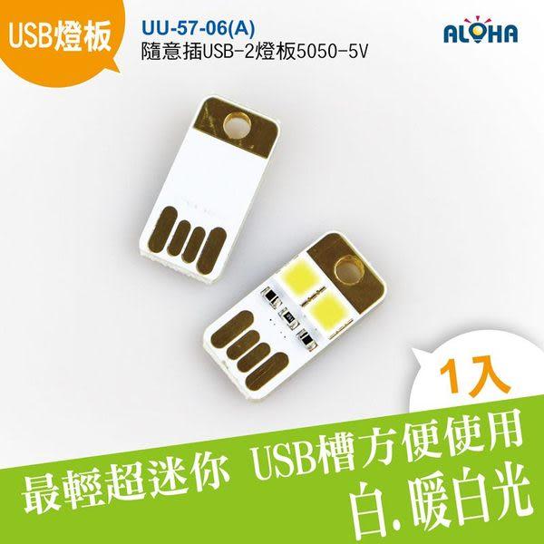 USB隨身燈 LED行動電源 小夜燈 隨意插USB-2燈板-5050-5V(UU-57-06A)