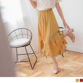 《CA1086》腰圍鬆緊飄逸荷葉層次素色光澤感緞面長裙.2色 OrangeBear