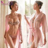 性感情趣內衣玫瑰刺繡開檔露乳三點式睡衣透視裝激情套裝女騷免脫