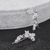 耳環 925純銀 鑲鑽-奢華閃耀生日七夕情人節禮物女飾品2色73hz89【時尚巴黎】