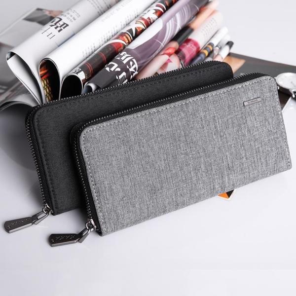 皮夾錢包男長款拉練青年手拿包休閒男士小手包潮流韓版帆布錢夾手機包   艾維朵