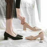高跟單鞋女中跟粗跟尖頭鞋【愛物及屋】