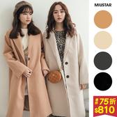 【現貨】冬裝上市 MIUSTAR翻領雙釦斜口袋毛呢大衣外套(共4色)【NG002261】預購