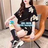 大碼T恤 韓國小熊卡通印花短袖t恤女上衣寬鬆大碼情侶裝黑色潮【風之海】