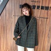 2018新款流行呢子大衣秋冬韓版中長款寬鬆復古格子西裝女 檸檬衣舍